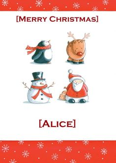 """HelloTurtle Christmas Cards """"Penguin, Reindeer, Snowman, Santa"""" personalised card Personalise and send this Christmas card to someone you care about. Same day despatch on orders received before (Mon-Fri) Reindeer, Snowman, Personalised Christmas Cards, Penguin, Merry Christmas, Product Launch, Santa, Custom Christmas Cards, Merry Little Christmas"""