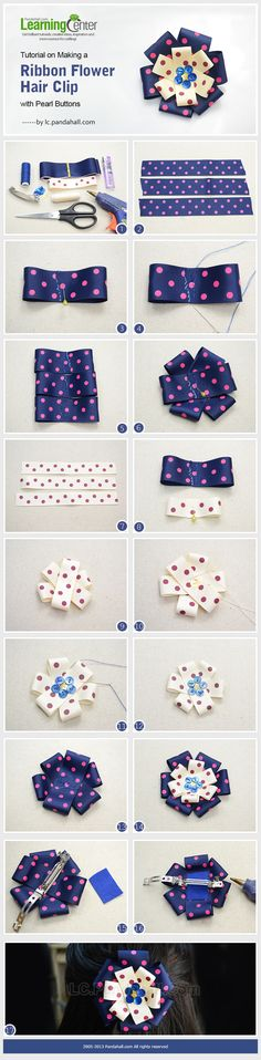 Tutorial on Making a Ribbon Flower Hair Clip with Pearl Buttons