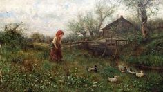 A Young Girl With Ducks Beside A Stream