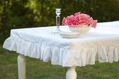 Custom Fit Ruffled Tablecloth perfect to photograph tea stands on...