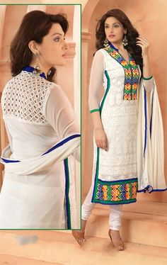 Picture of Fascinating Off White Color Chiffon Salwar Kameez