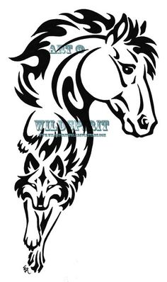 this tattoo was going to go on my forearm but i decided to go with the separate wolf and horse ones...but i still like this one.