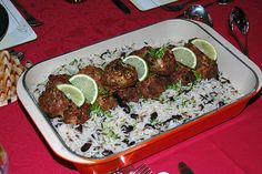 haitian meatball with haitian rice with black beans and cilantro