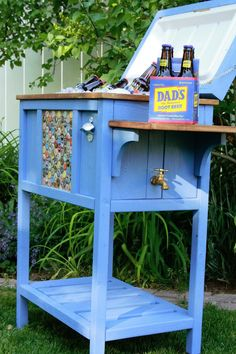 DIY:  How to Build a Cooler Stand - this is an excellent tutorial and a great way to dress up a cooler.  Blogger (Jenny) shows show to build this Ana White design - via Birds and Soap