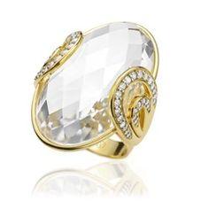 Anel Ouro Amarelo Diamantes e Cristal Ilumina Maior