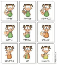 Days of the week in Argentinan Sign Language! Sign Language Book, Sign Language Alphabet, Learn Sign Language, Speech Language Therapy, Speech And Language, Deaf Sign, Braille Alphabet, Deaf Culture, Spanish Classroom