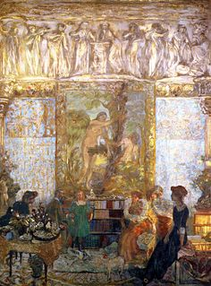 The Library Edouard Vuillard - 1910-1911 I'm not usually a fan of this impressionistic of art work, but the moment I look at it I can see a scene playing in my head.