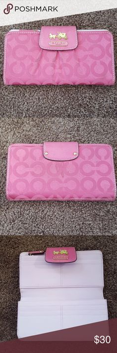 pink coach wallet pink coach wallet perfect condition! hot pink and adorable!! Coach Bags Wallets
