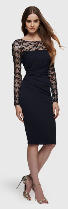 David Meister  Jersey and Sequined Lace Cocktail Dress
