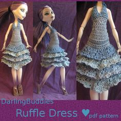 Monster High doll crochet party gown pdf pattern ( ruffle dress made with crochet thread)