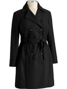 black wool-blend trench coat