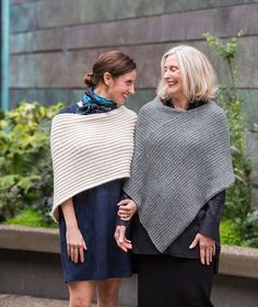 Twice Reversible Ribbed Poncho knitting pattern by Churchmouse Yarns and Teas - pattern in 2 gauges & 2 sizes Poncho Knitting Patterns, Knitted Poncho, Free Knitting, Crochet Patterns, Knitting Ideas, Knitting Scarves, Free Crochet Poncho Patterns, Knitting Projects, Crochet Edgings