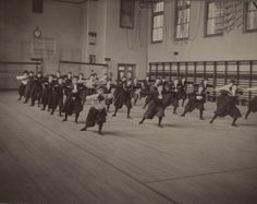 #gym #retro #russia #school Gym class at a school for girls in 1901