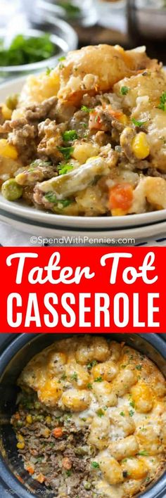 Tater Tot Casserole is an incredibly easy dish to make and everyone always loves it!  Layers of tater tots, lean ground beef and veggies are covered in a simple sauce and cooked until hot and bubbly.  #spendwithpennies #tatertots #tatertotcasserole #slowcookerrecipe #crockpotrecipe #tatertotrecipe #casserole #familymeal via @spendpennies