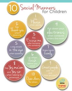 10 Social Manners for Kids | iMom  I want my children to be polite…@home & out & about.