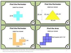 FREE Area and Perimeter: Area and Perimeter FREE Math Task Cards - This FREE printable packet focuses on the 3rd and 4th grade common core math skills of calculating area and perimeter of shapes.