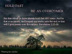 PROMISE OF POWER OVER THE NATIONS TO  OVERCOMERS OF THE CHURCH OF THYATIRA  But that which ye have already hold fast till I come.  And he that overcometh, and keepeth my works unto the end, to him will I give power over the nations:  Revelation 2:25-26