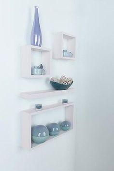 Details About Hudson 4 Pc Cube Wall Mounted Shelf Kit Large Floating Storage Box Shelves White