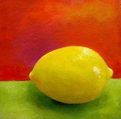 Original Painting  Still Life  Fruit Art  Lemon by AbbyCreek