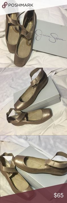 Jessica Simpson Ballet Flats NWT and Box.  I love the color of this shoe.  SA bar/Gold, Gold with a pink tone.  Shimmer suede fabric.  Size 11M. Jessica Simpson Shoes Flats & Loafers