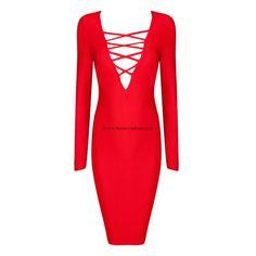 Herve Leger Red V-neck Long Sleeves Sexy Bandage Dress