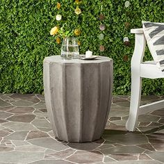 Safavieh Torre Concrete Indoor/ Outdoor Accent Table (Dark Grey) - Free Shipping Today - Overstock.com - 18686243