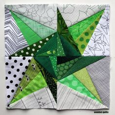 Twisting Star block: Free paper piecing patterns
