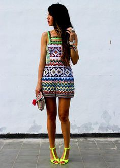 Head to toe cute look....#neon and #print love
