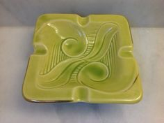 1930s Yellow Green Swirls Ceramic Art Deco Vintage Ashtray Dish on Etsy, $20.58