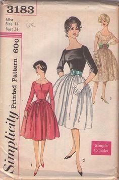 MOMSPatterns Vintage Sewing Patterns - Simplicity 3183 Vintage 50's Sewing Pattern SPECTACULAR Rockabilly Mad Men Flared Skirt, Conrast Top Evening Cocktail Party Dress, 3 Views #MOMSPatterns