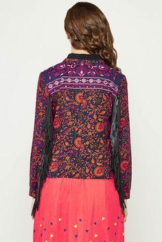 Floral Print Fringe Jacket