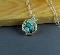 Mother of Pearl Robin With Egg Nest Sterling by ManoCelebrates, $23.00