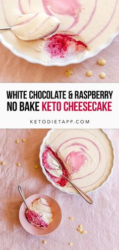 Sugar-free white chocolate cheesecake swirled with tangy raspberry cream. This light and airy low-carb dessert is easy to make with no baking and no crust required! Keto No Bake Cheesecake, Mint Cheesecake, White Chocolate Raspberry Cheesecake, Sugar Free White Chocolate, White Chocolate Chips, Chocolate Flavors, Healthy Meats, Low Carb Sweeteners, Protein Snacks