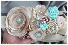 Blue and tan ribbon flowers! Gorgeous!