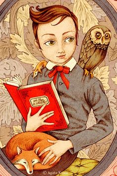 Biy reading with fox and owl illustration by Agata Kawa I Love Books, Books To Read, My Books, Owl Art, Lectures, Children's Book Illustration, Book Lovers, Childrens Books, Fairy Tales