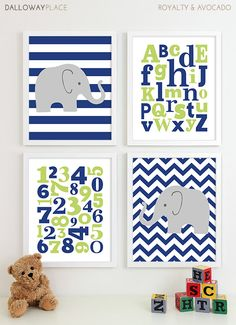Alphabet Art Print ABC Numbers Art Baby Boy by DallowayPlaceKids