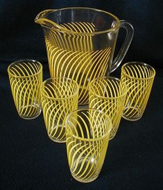 Hazel Atlas Juice Set in Box Yellow Swirls USA