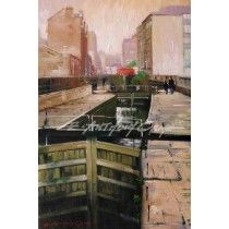 TOWARDS DEANSGATE BRIDGE - ROCHDALE CANAL MANCHESTER  Fine Art Print from a painting by E Anthony Orme