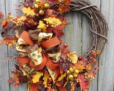 Fall Owl Wreath - Fun Fall / Autumn Wreath - Fall Wreath in Fall Browns and Oranges - Fall Wreath with Bow