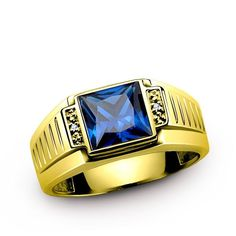 Men's Sapphire Ring 14K SOLID GOLD with GENUINE DIAMONDS Fine jewelry all sz #Unbranded #SolitairewithAccents