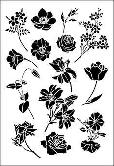 Medium Flowers only stencil from The Stencil Library GENERAL range. Buy stencils online. Stencil code 356.