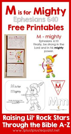 M is for Mighty ~ Free Ephesians 6:10 Bible Printables {Raising Lil Rock Stars Through the Bible A to Z}