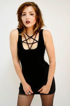 24f8f6ee67 PENTAGRAM cut-out collar black mini dress by veraseyecandy on Etsy https