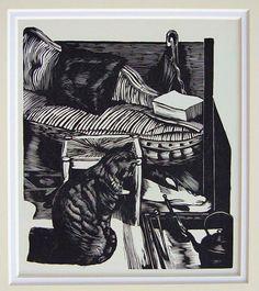 John Nash (British, 1893-1977). Cat. 1946. (wood engraving)