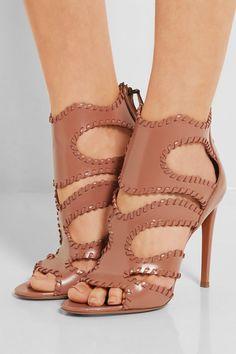 Alaïa   Cutout glossed-leather sandals   NET-A-PORTER.COM