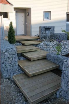 Like the stairs but could use more plants. 23 Attractive and Practical Gabion Ideas To Enhance Outdoor Space Landscape Architecture, Landscape Design, Path Design, Landscape Stairs, Design Ideas, Design Design, Gabion Wall, Gabion Fence, Garden Stairs