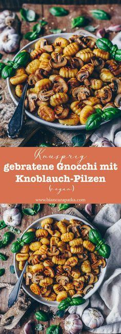 Gnocchi mit Pilzen (Champignons), knusprig gebraten