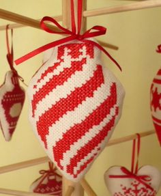 Cross stitch christmas tree bauble