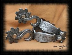 Academy of Western Artists 2015 Engraver of the Year - Loveland Sunflower Spurs Spurs Western, Cowboy Spurs, Cowboy Gear, Western Tack, Cowboy Horse, Western Jewelry, Cowboy And Cowgirl, Cowgirl Style, Cowboy Boots