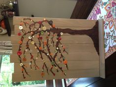 DIY fall decorating Scrap wood, acrylic paint, buttons and hot glue!